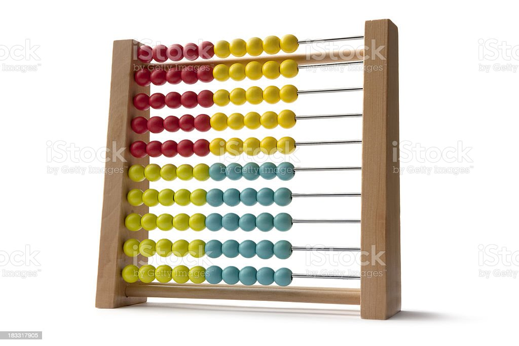 Toys: Wooden Abacus Isolated on White Background stock photo
