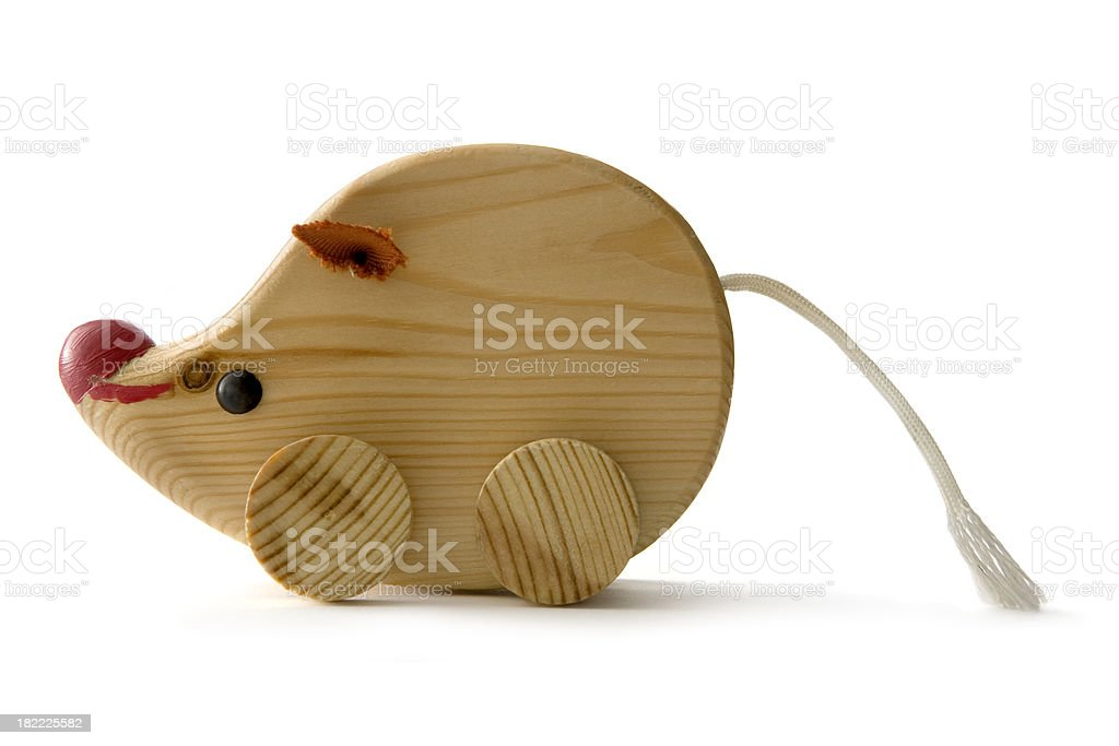 Toys: Wooden Mouse Isolated on White Background royalty-free stock photo