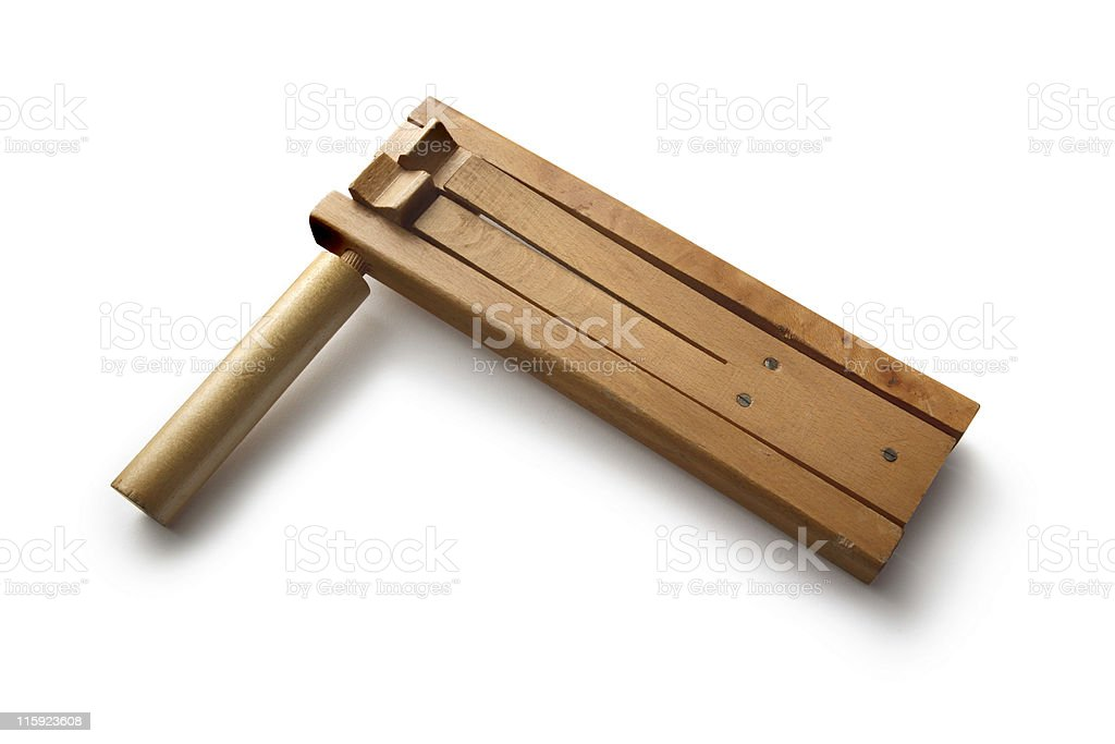 Toys: Wooden Rattle Isolated on White Background stock photo
