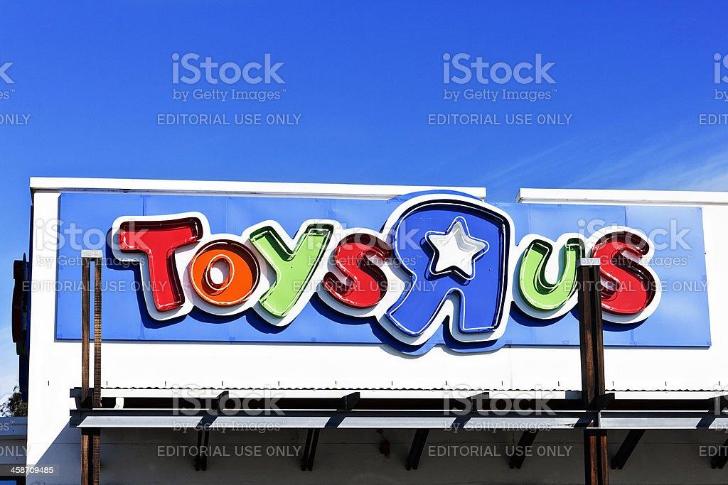 "Toys""R""Us neon sign outside suburban toyshop branch royalty-free stock photo"