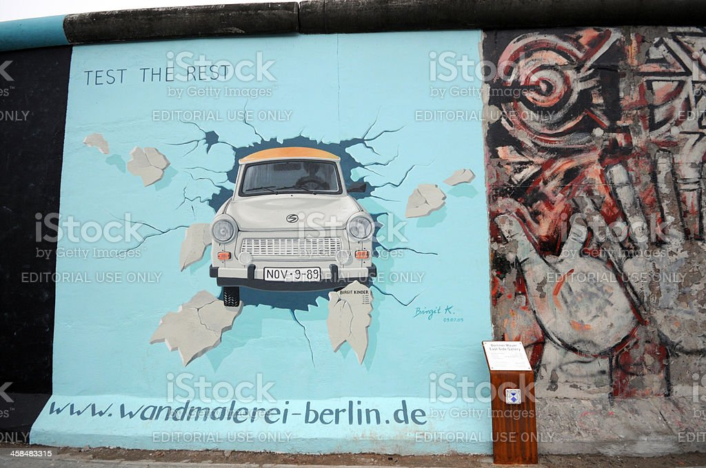 Trabant painting on Berlin wall at East Side Gallery stock photo
