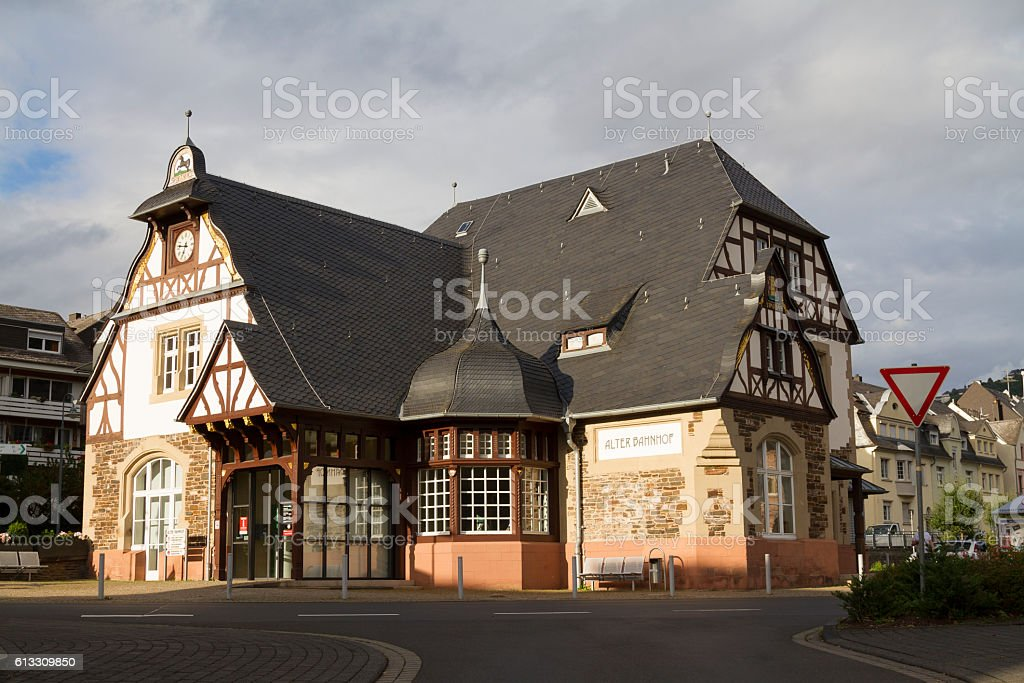 Traben-Trarbach old train station, in the Moselle valley, German stock photo