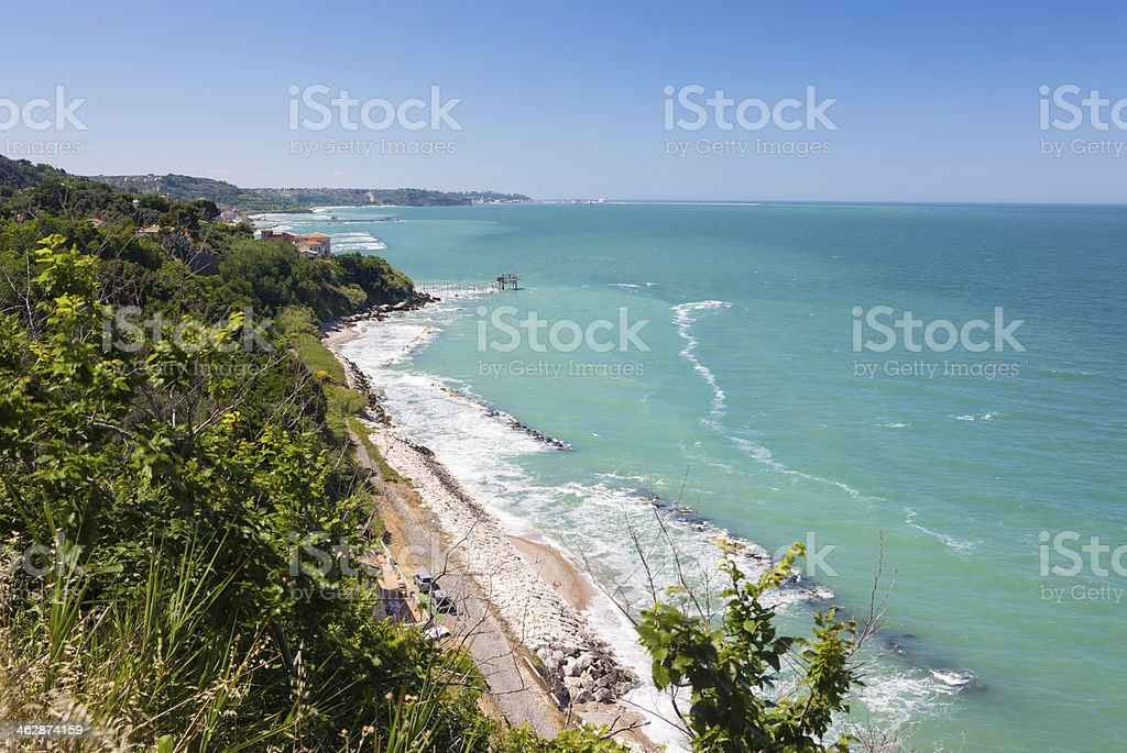 Trabocchi Coast on the Adriatic-coast, Abruzzi Italy stock photo
