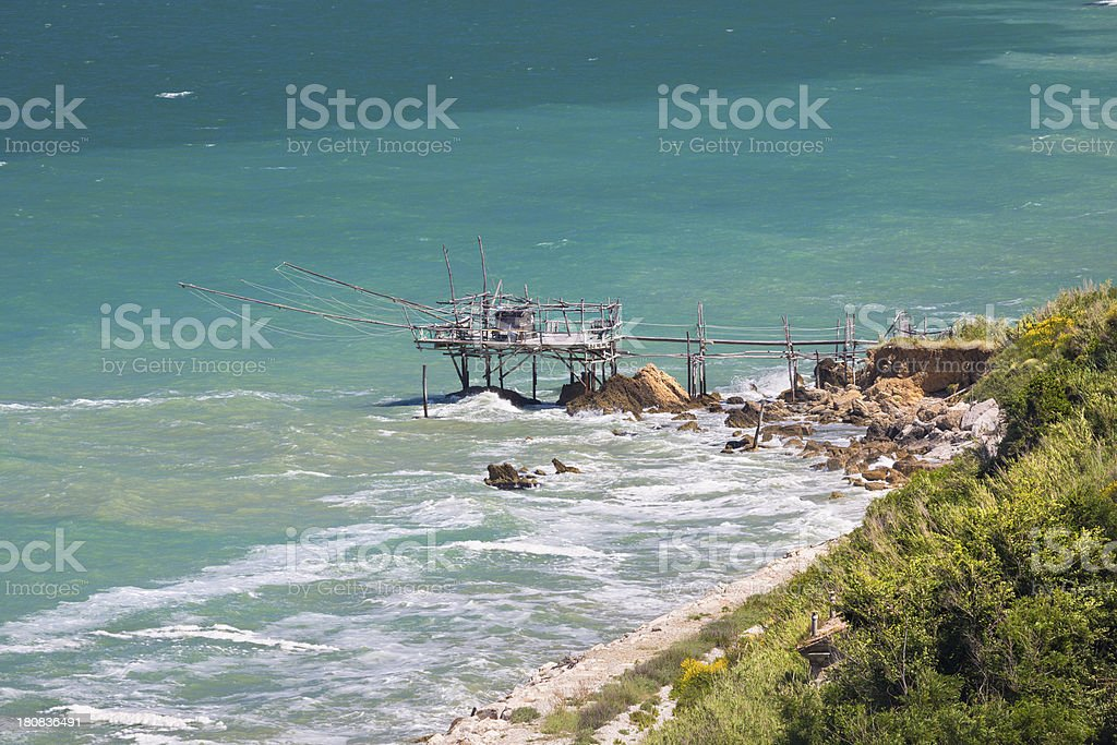 Trabocco fishing platform at the Adriatic coast, Abruzzi Italy royalty-free stock photo