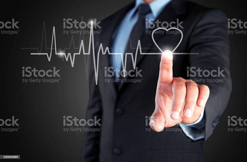 Trace pulse on touch screen stock photo