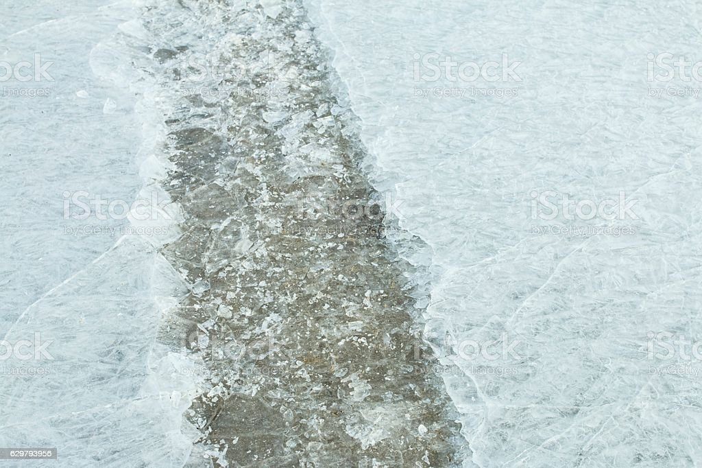 Traces of car on ice. stock photo