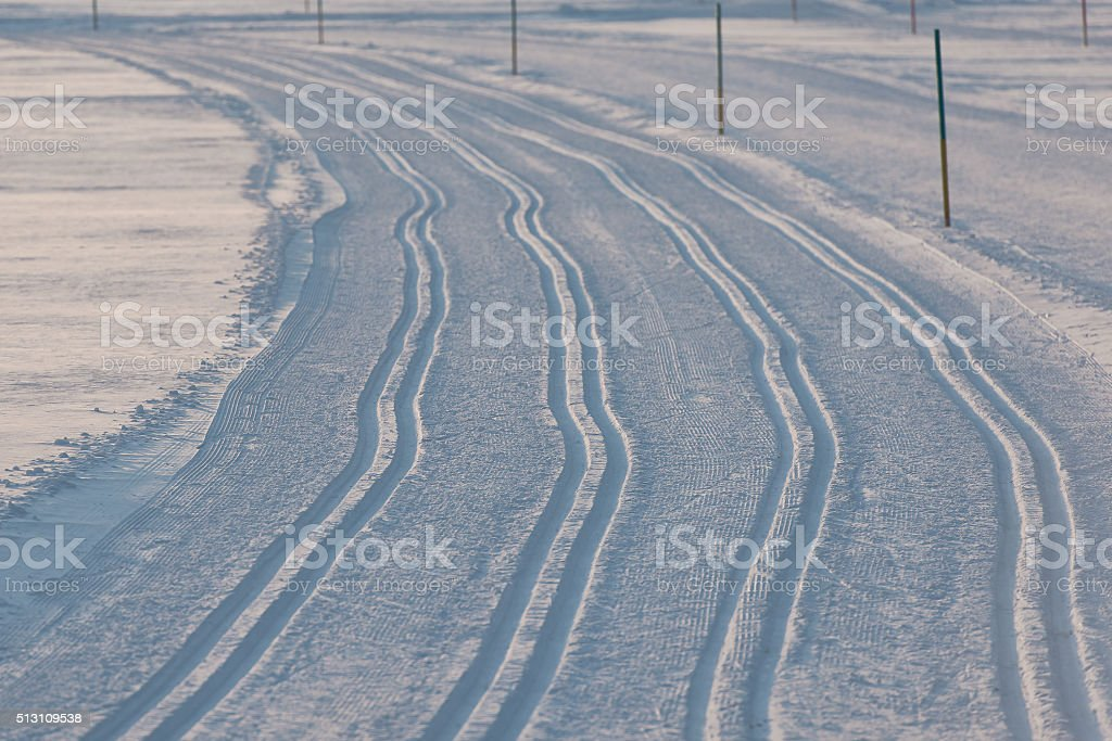 Traces of cross-country skiing stock photo