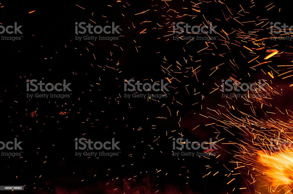 Traces of fire sparks stock photo