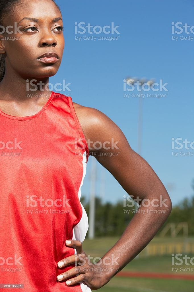 Track and field athlete stock photo