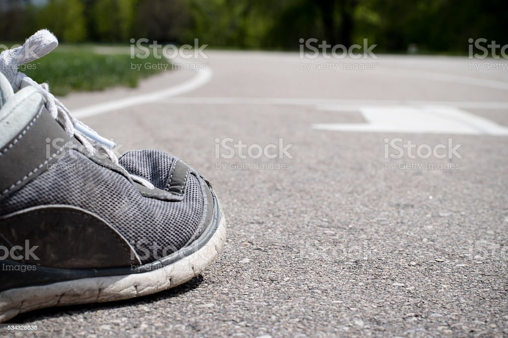 track and field course foot starting line stock photo