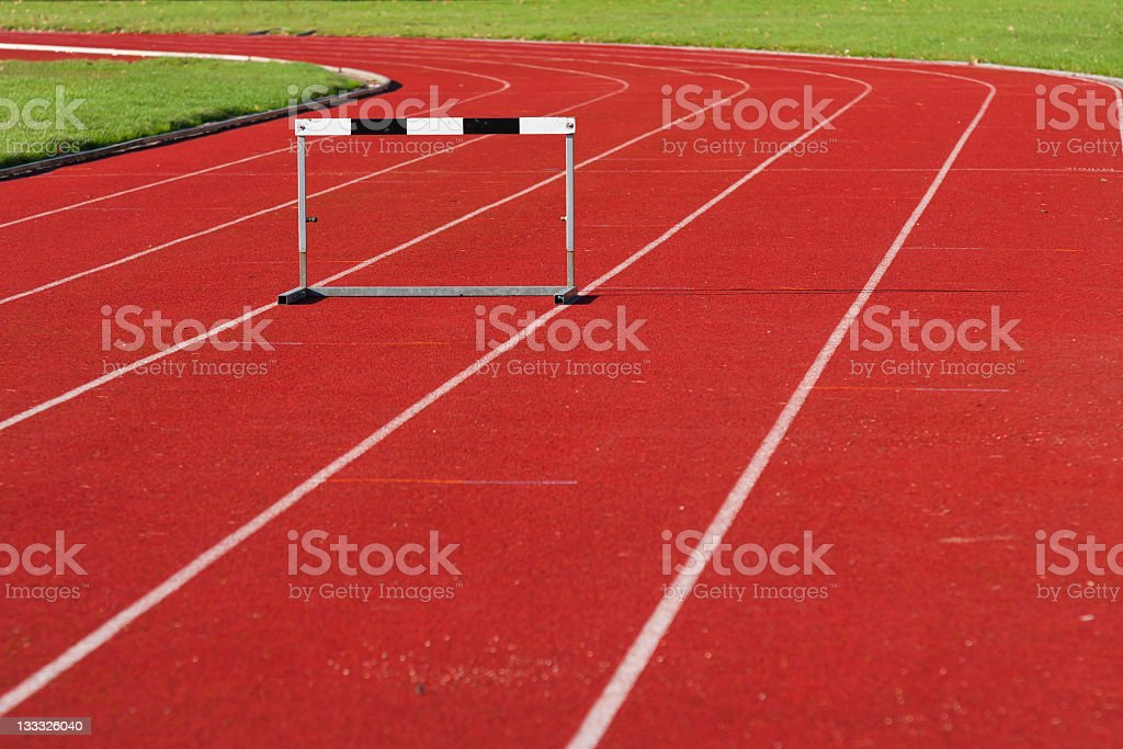 Track and field hurdle stock photo