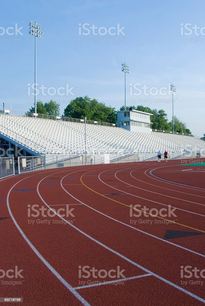 Track and Field Lanes in American Sports Stadium royalty-free stock photo