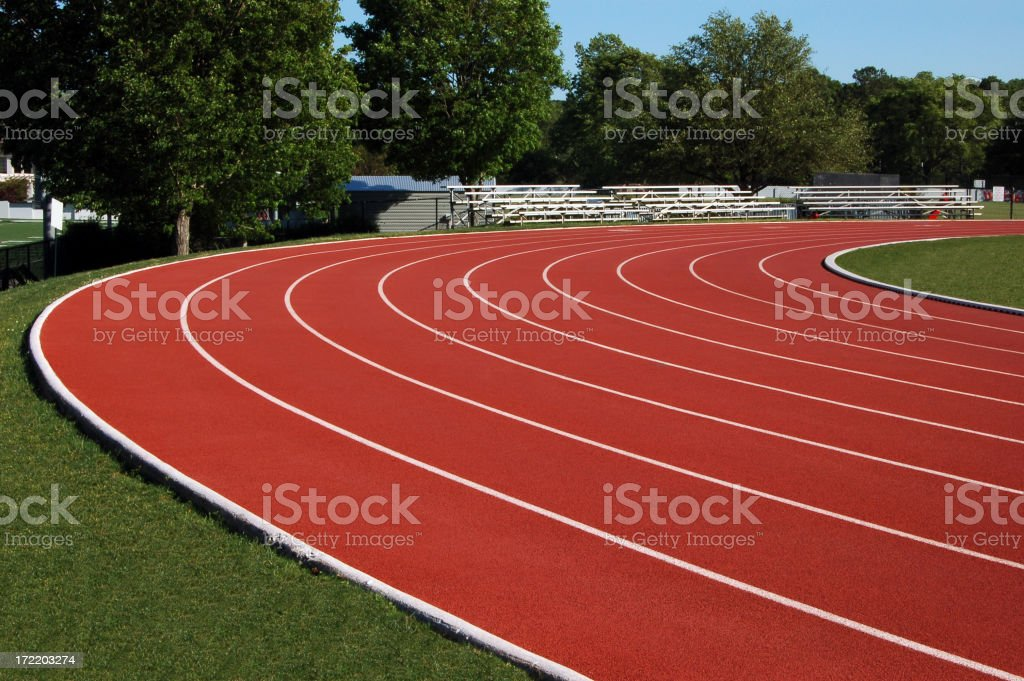 Track and field lateral side view stock photo