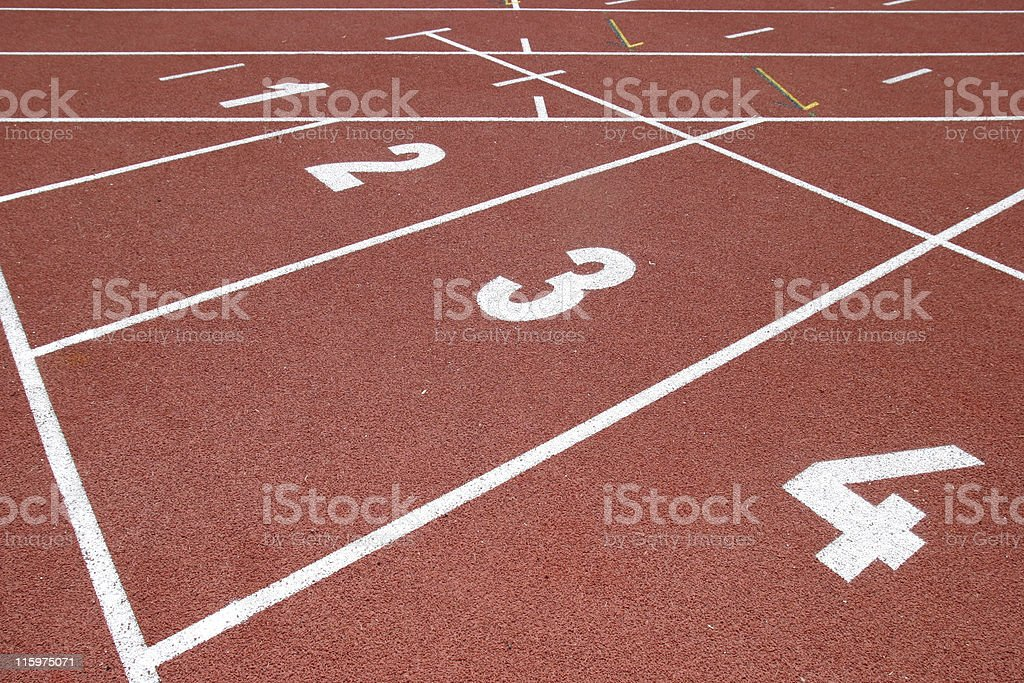 Track and field (start) stock photo