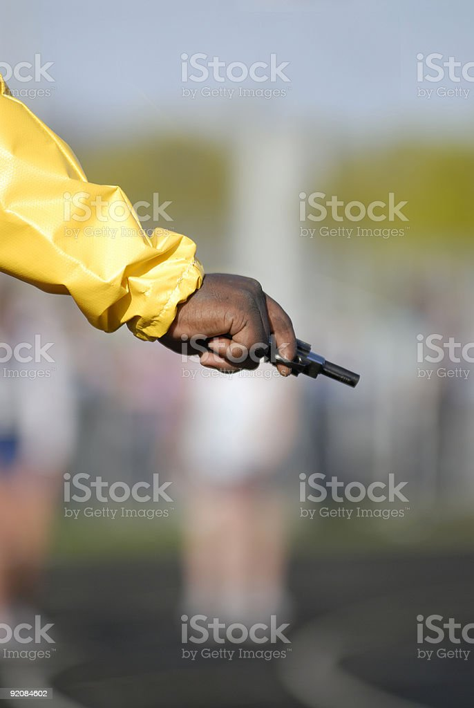 Track and Field starters pistol stock photo