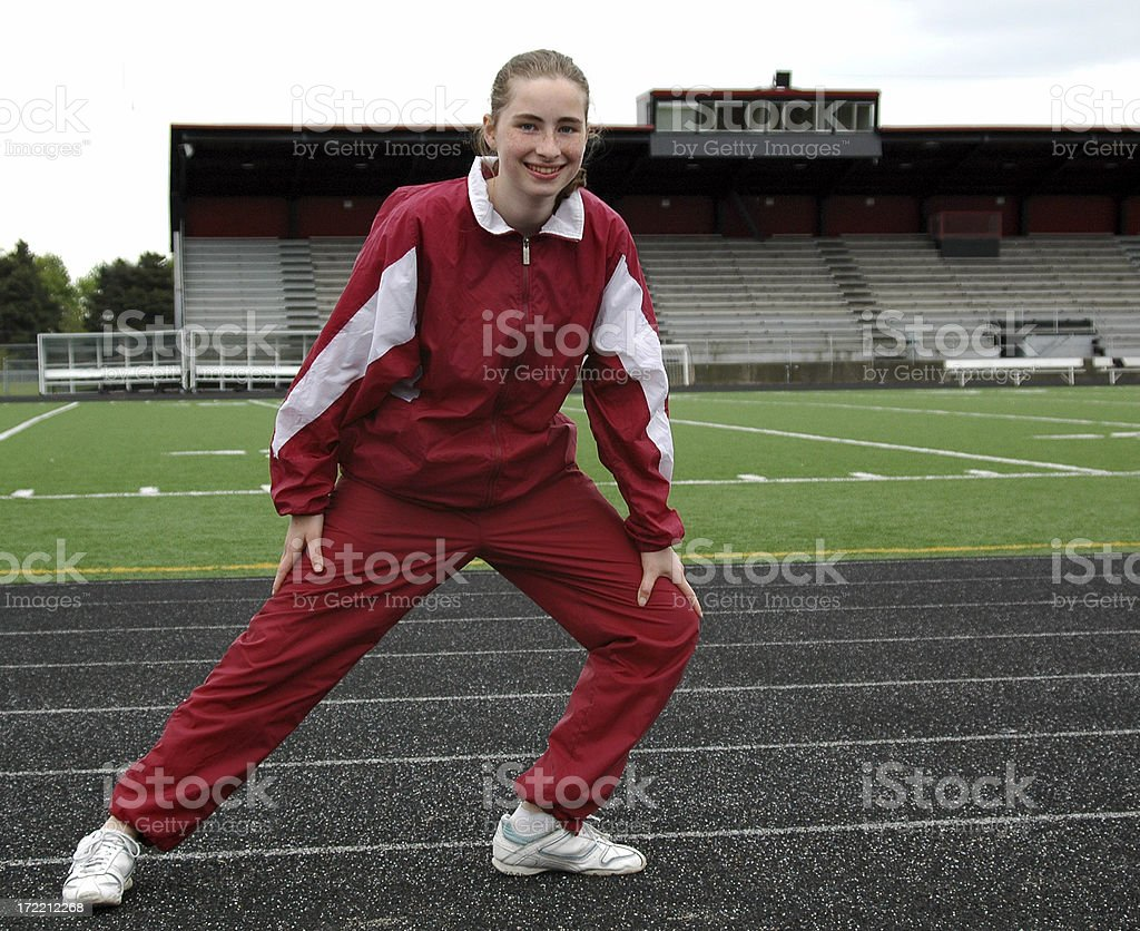 Track Girl\t- Stretching royalty-free stock photo