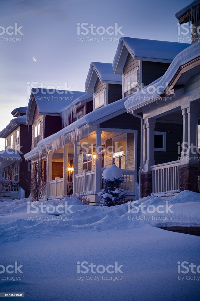 Track House at night in Winter stock photo