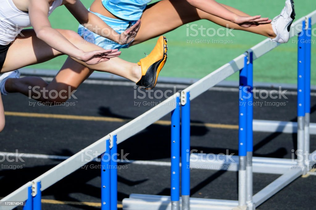 Track hurdle race. stock photo