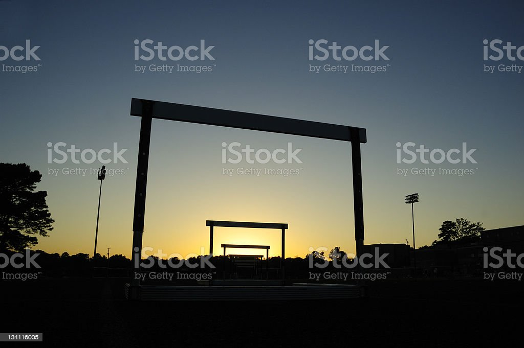 Track Hurdles in Silhoutte royalty-free stock photo