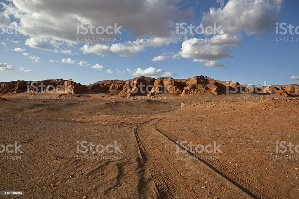 Track in Gobi stock photo