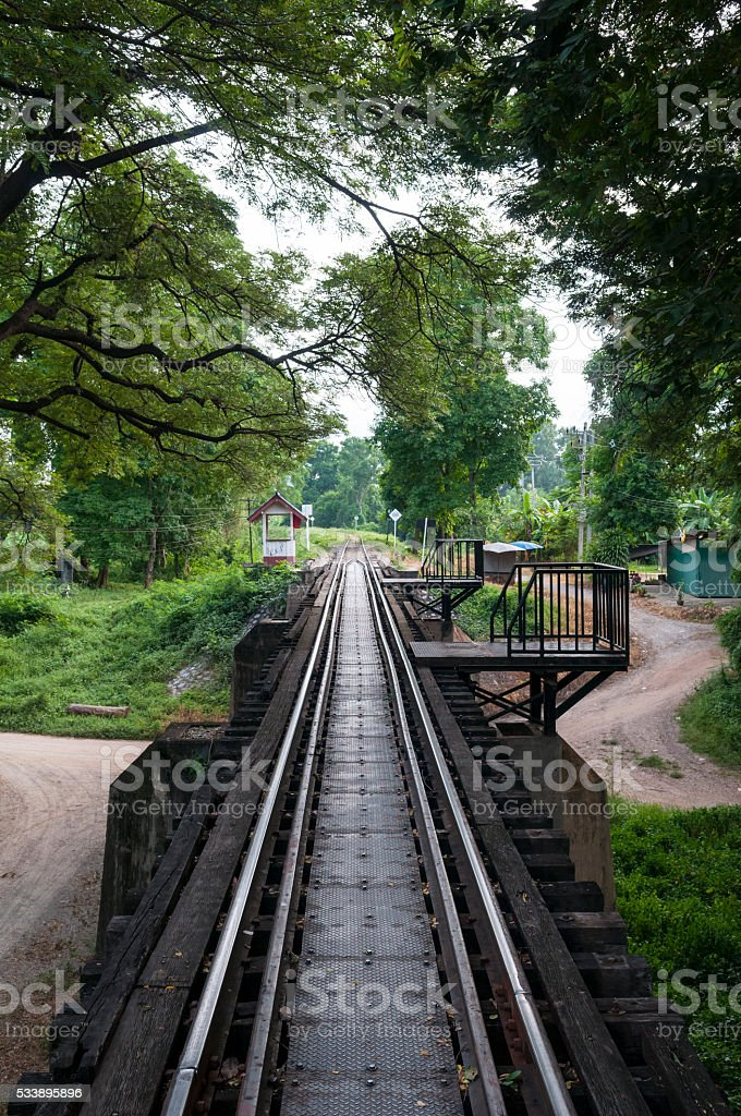 Track leading off the Bridge on the River Kwai, Thailand stock photo