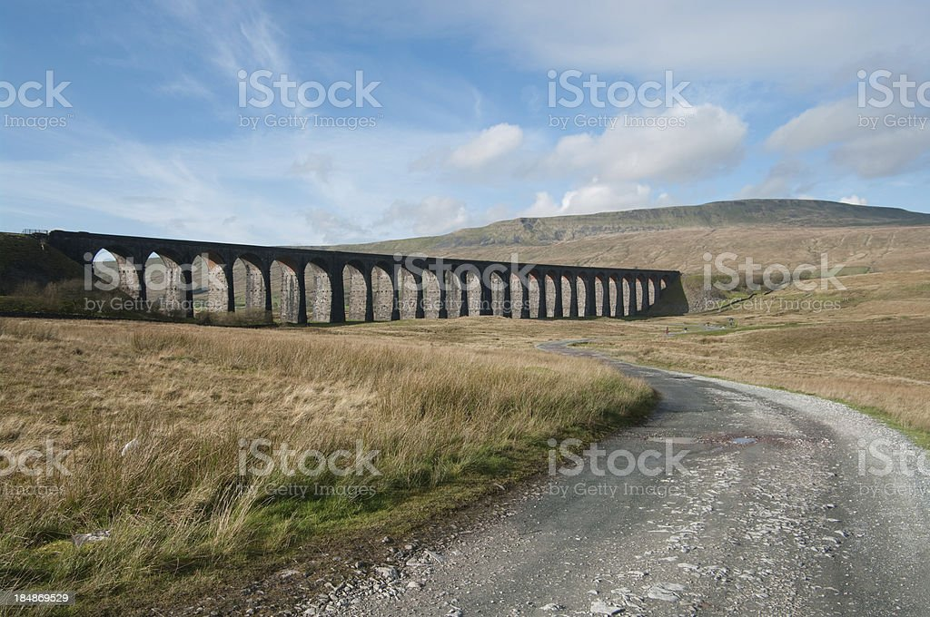 Track leads to Ribblehead Viaduct in Cumbria stock photo