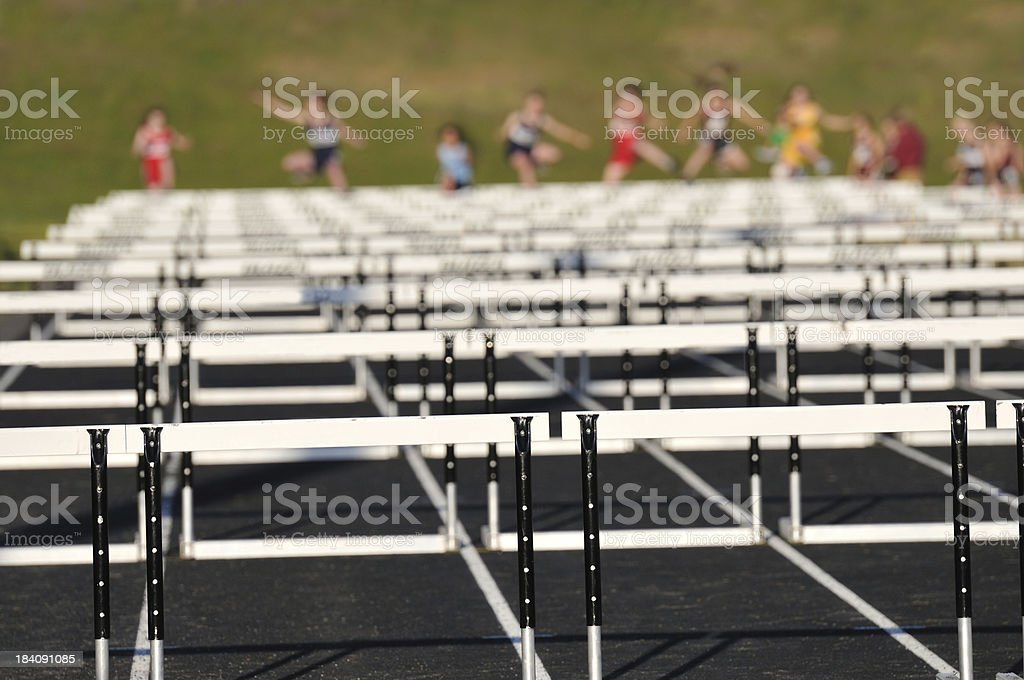 Track Meet High Hurdles royalty-free stock photo