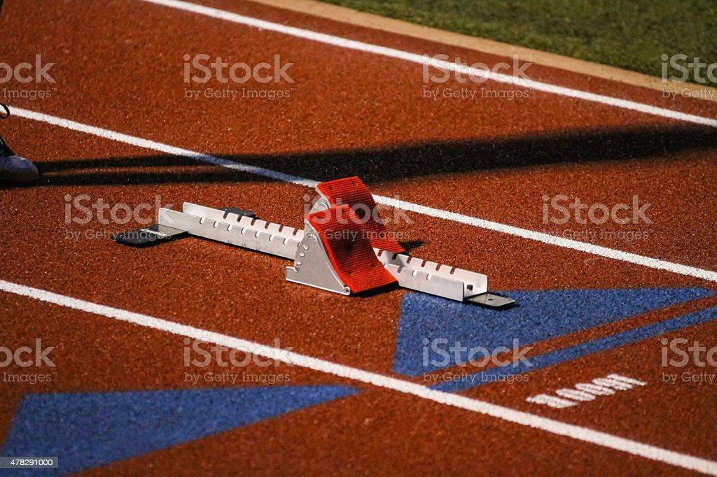 Track Meet Starting Blocks stock photo