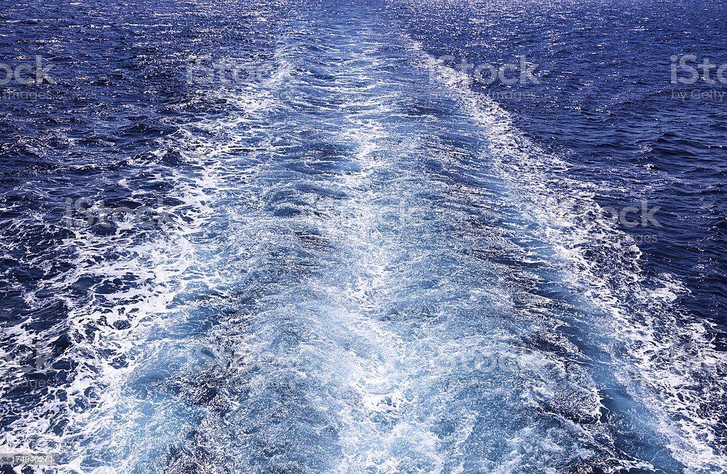 Track of a boat in Aegean Sea stock photo
