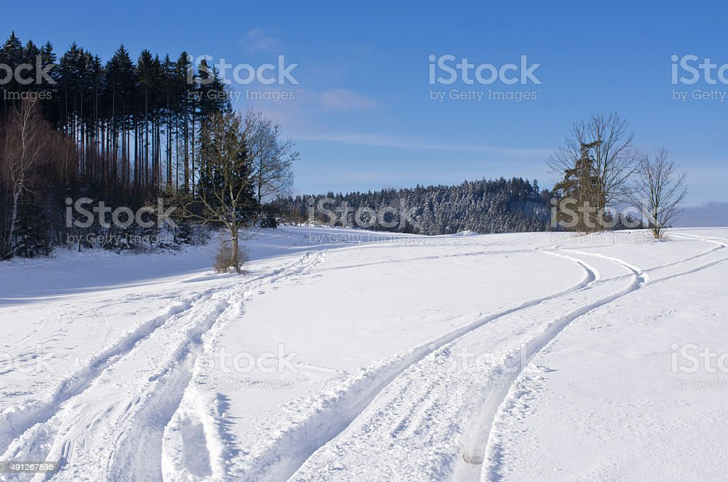 Track on the snow stock photo
