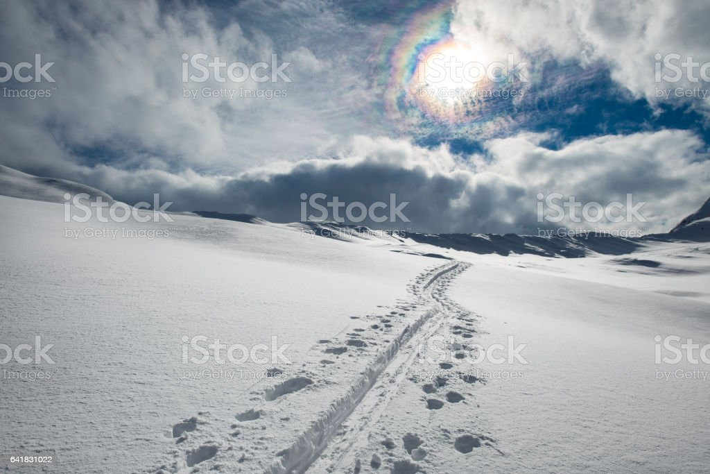Track skier mountaineer in the alps stock photo