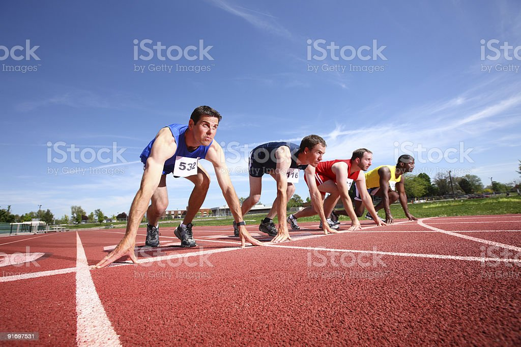 Track starting line stock photo