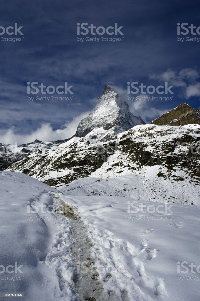 track to matterhorn stock photo