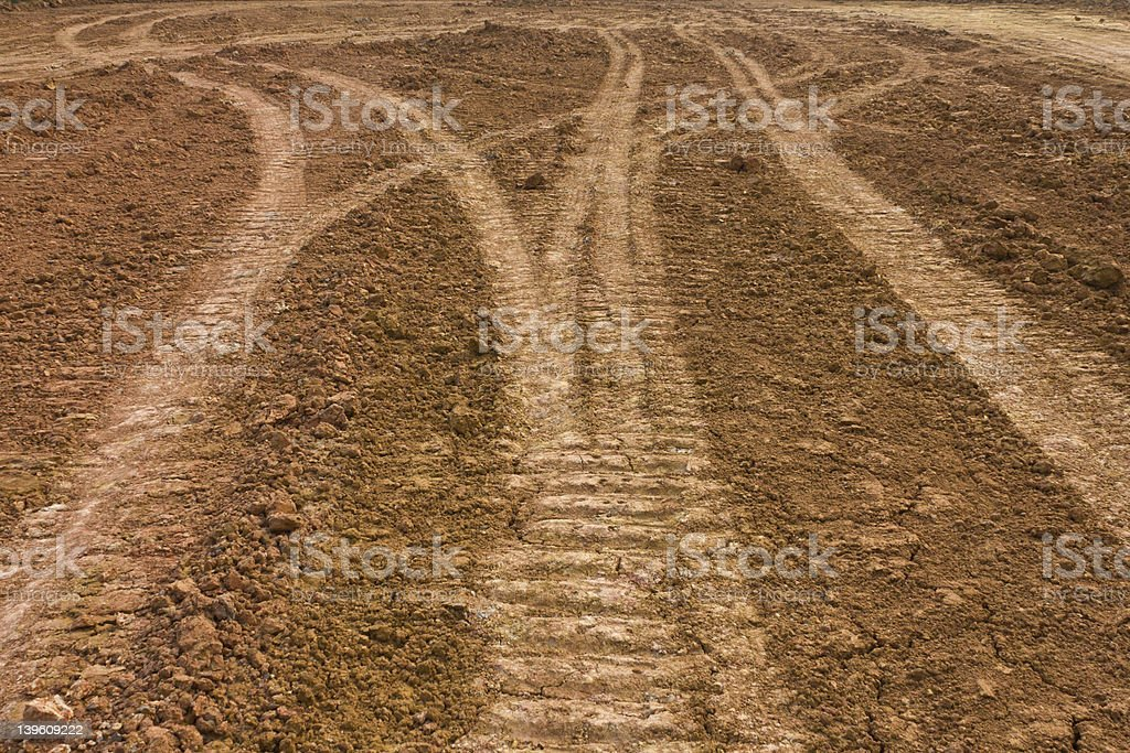 Track wheel on the ground. royalty-free stock photo