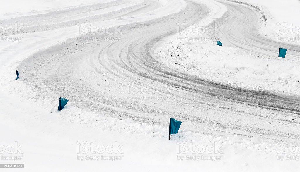 Track Winter car racing stock photo