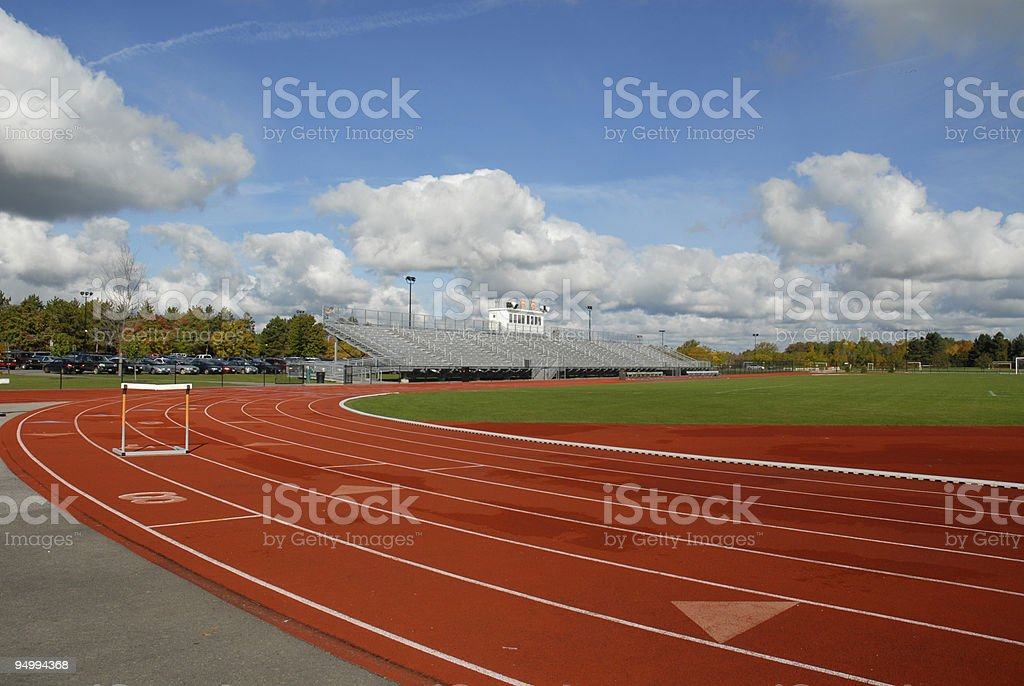 Track with hurdle royalty-free stock photo