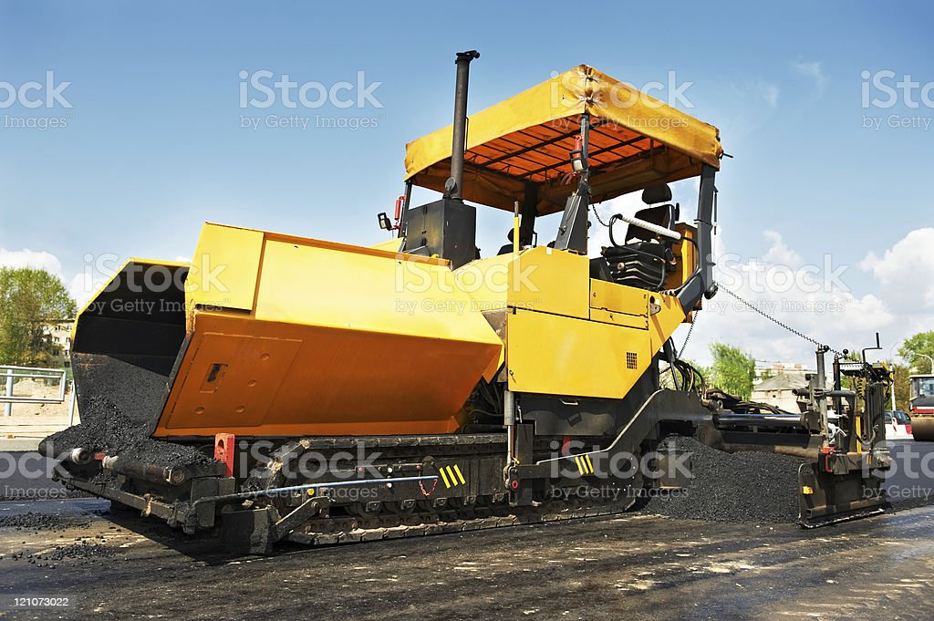 tracked asphalt paver royalty-free stock photo