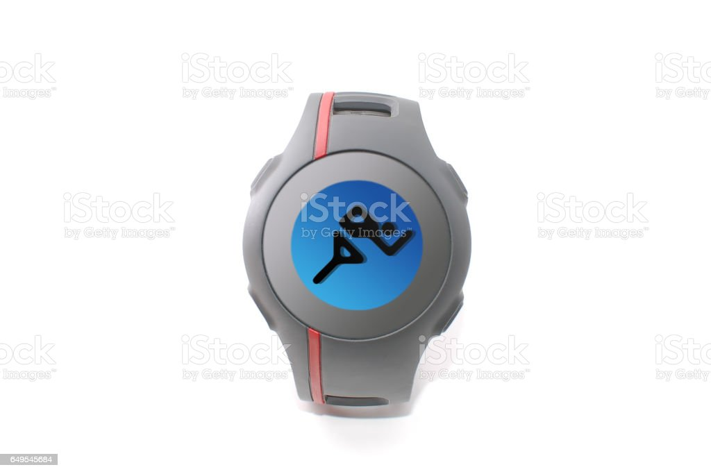 GPS tracking clock (runner pictogram) stock photo