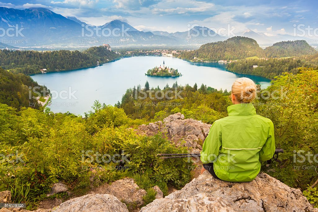 Tracking round Bled Lake in Julian Alps, Slovenia. stock photo
