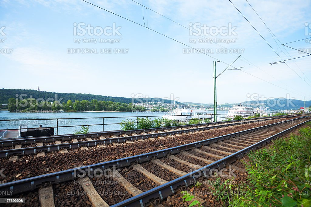Tracks and boats at Rhine in R?desheim stock photo