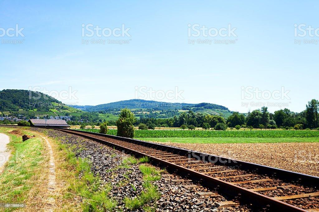 Tracks and hills of Badische Bergstra?e stock photo