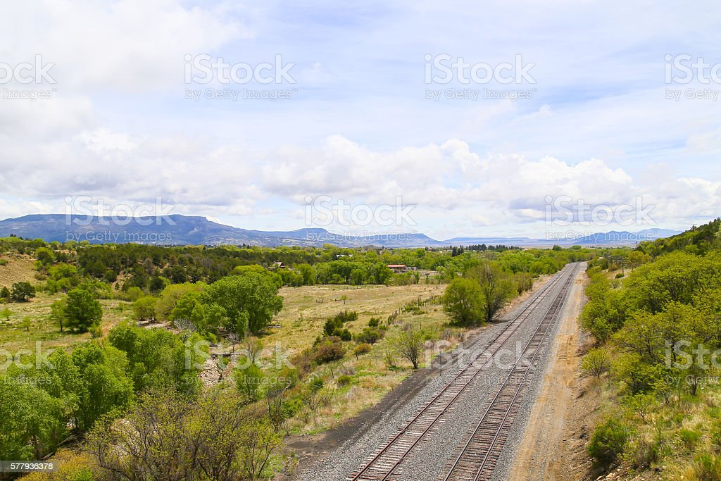 Tracks and Panorama stock photo