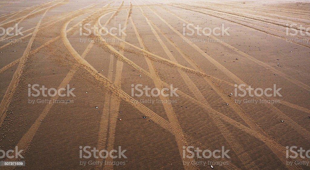 Tracks at the beach, Texel stock photo