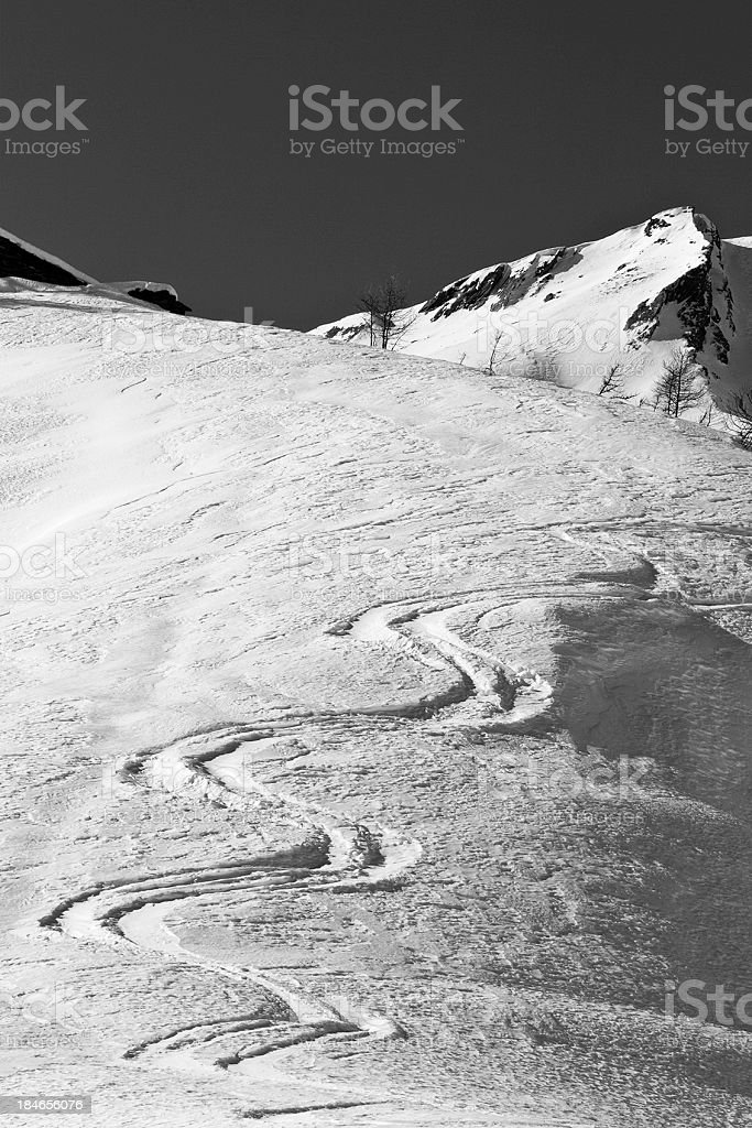 Tracks in the snow - B&W royalty-free stock photo
