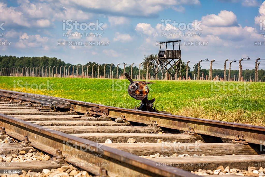 Tracks of Auschwitz, Poland stock photo