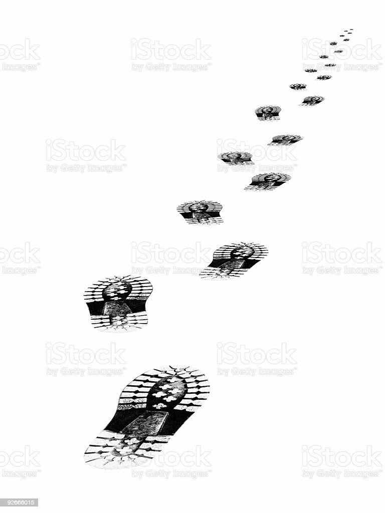 Tracks of shoes royalty-free stock photo