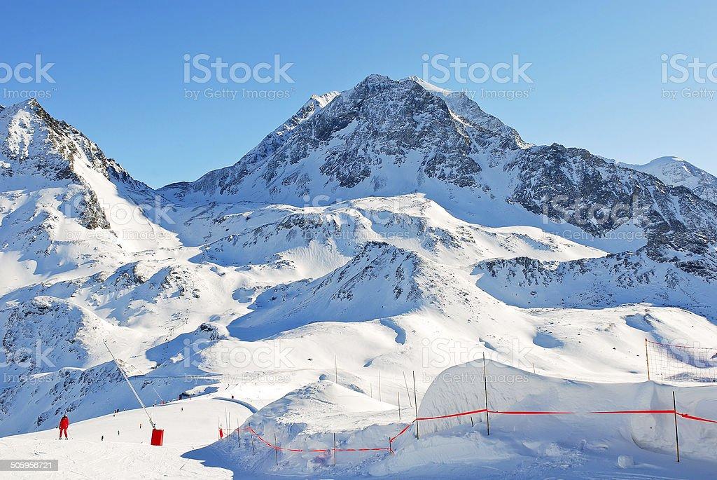 tracks on mountains slopes in Paradiski region stock photo