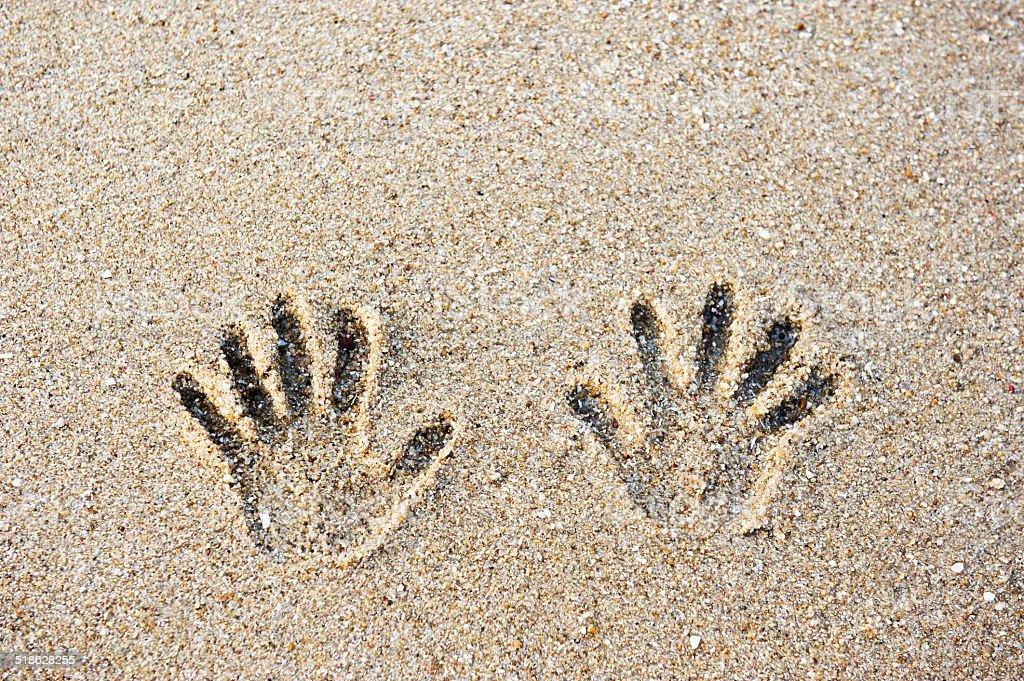 tracks on the sand stock photo