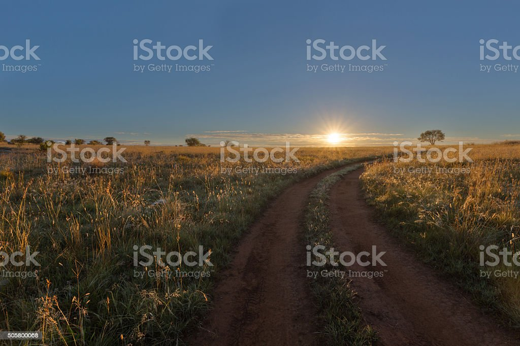 Tracks to sunrise stock photo