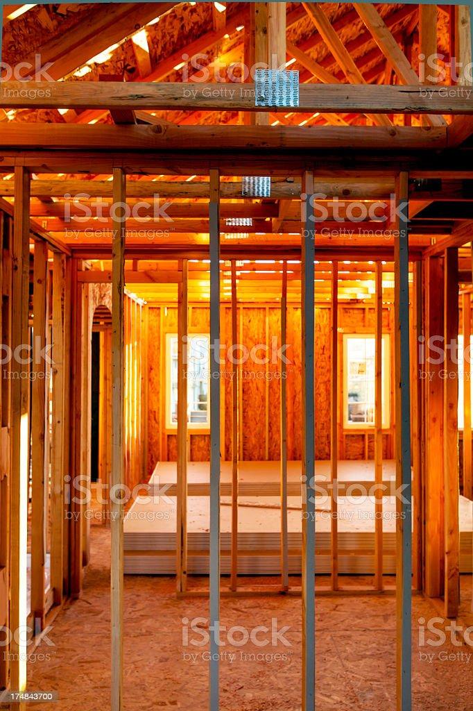 Tract House Construction Interior stock photo